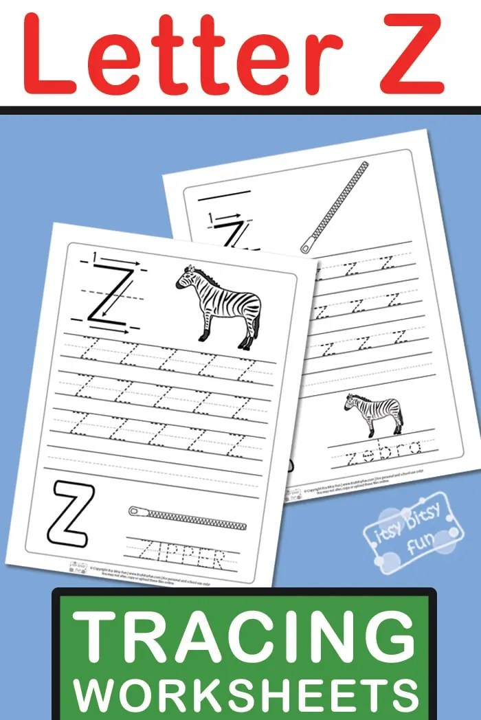 Letter Z Tracing Worksheets - Itsy Bitsy Fun