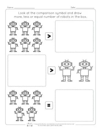 Robots Comparing Number Worksheets - Itsy Bitsy Fun