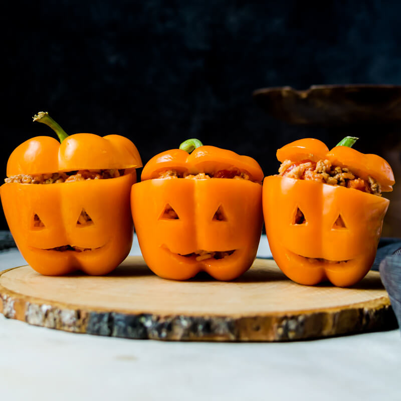 Healthy Halloween Stuffed Peppers Jack O Lanterns Its Yummi