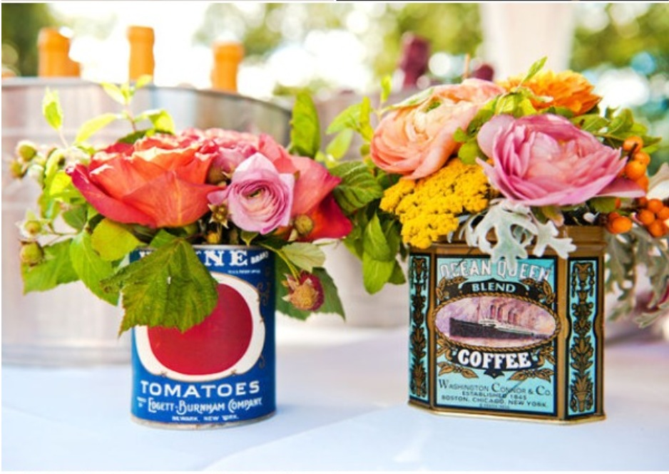 planter can flower centerpiece diy home decor