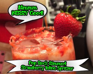 Pop Rock Rimmed Strawberry Wine Spritzer