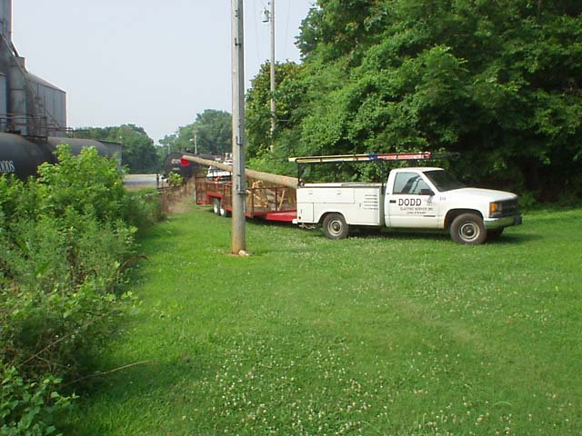 Bringing in a 45 foot pole.  What would we do without the utility right-of-way?