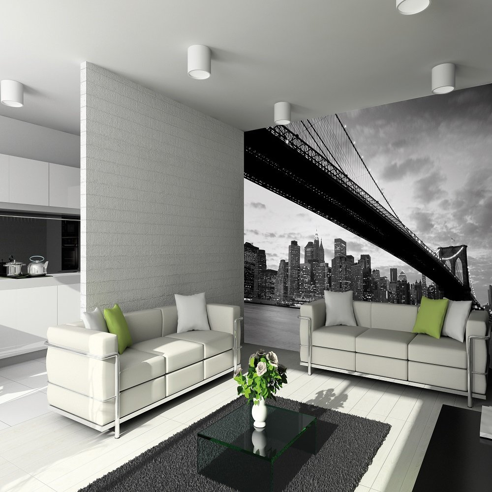 3d Effect Wallpaper For Living Room 1 Wall Giant Wallpaper Mural New York Nyc Brooklyn Bridge3