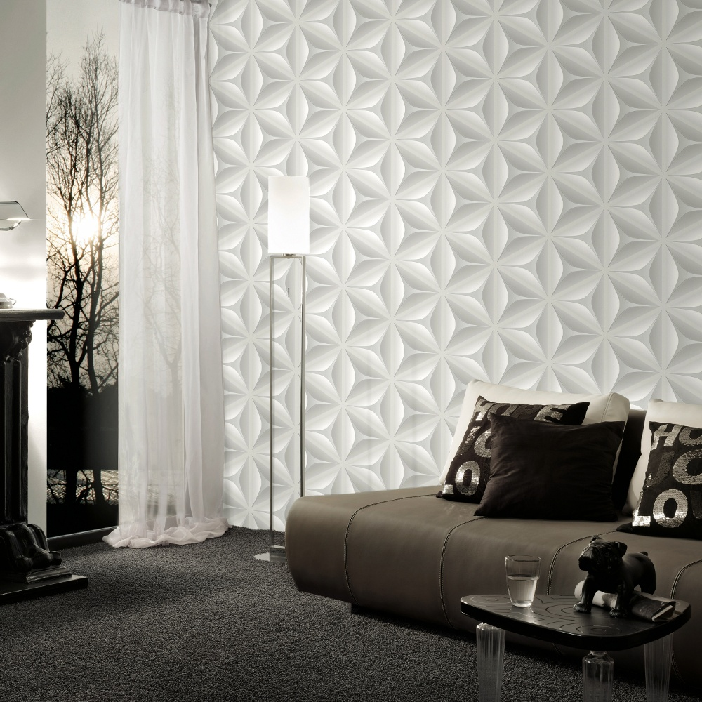 3d Effect Wallpaper For Living Room As Creation Abstract Star Leaf Pattern Embossed Non Woven