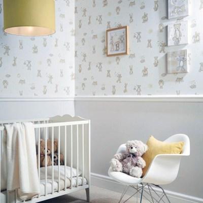 Arthouse Bear Hugs Teddy Bear Pattern Stars Moon Nursery Childrens Wallpaper 667400 - Mint   I ...