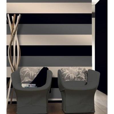 Direct Stripe 3 Colour Striped Motif Textured Designer Vinyl Wallpaper E40909 - Black Silver ...
