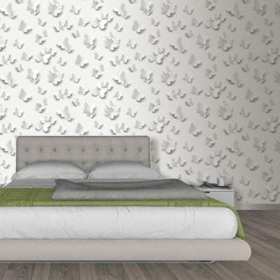 Muriva Just Like It Butterfly 3D Butterflies Pattern Motif Designer Washable Vinyl Wallpaper ...