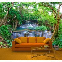 Rainbow Green Spring Forest Nature Waterfall Photo Mural ...