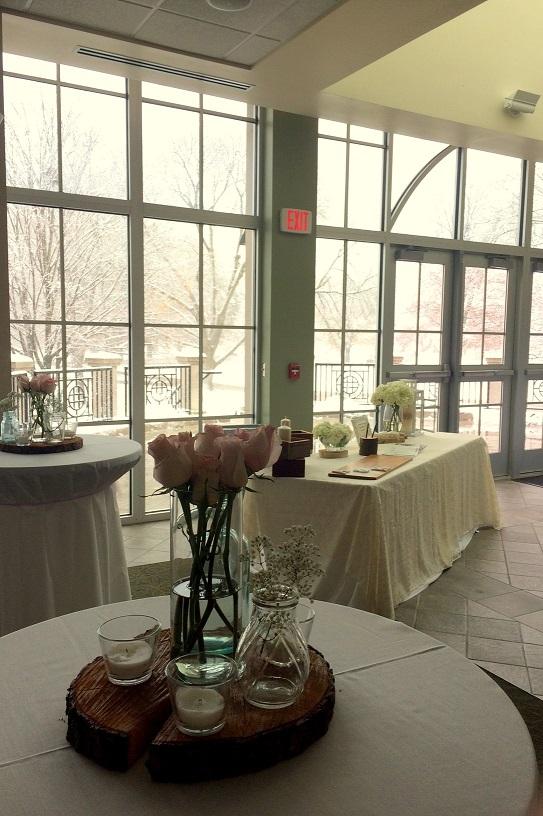 Receptions Illinois Wesleyan - wedding reception setup with rectangular tables