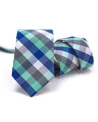Dark Blue Mint Green Gray White Cotton Tie   Jaan J. - The ...