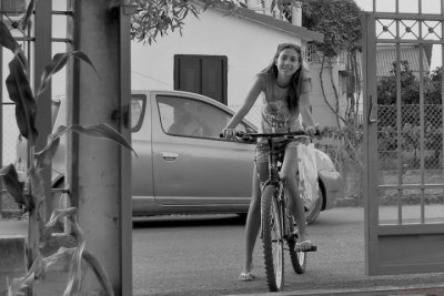 Christine on Bicycle