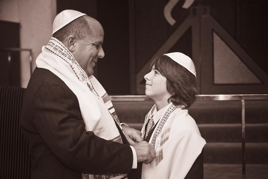 father and son at synagogue