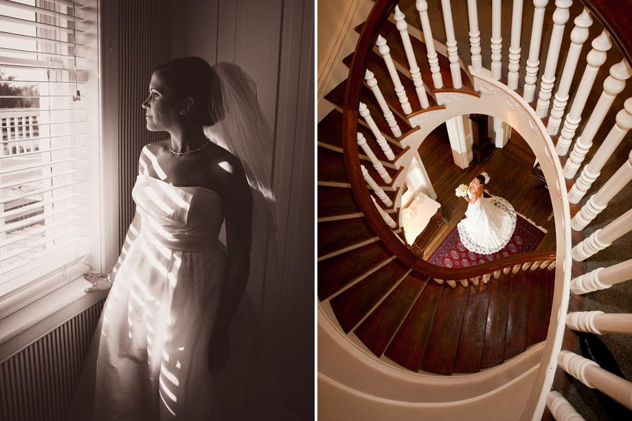 bride at bottom of spiral staircase