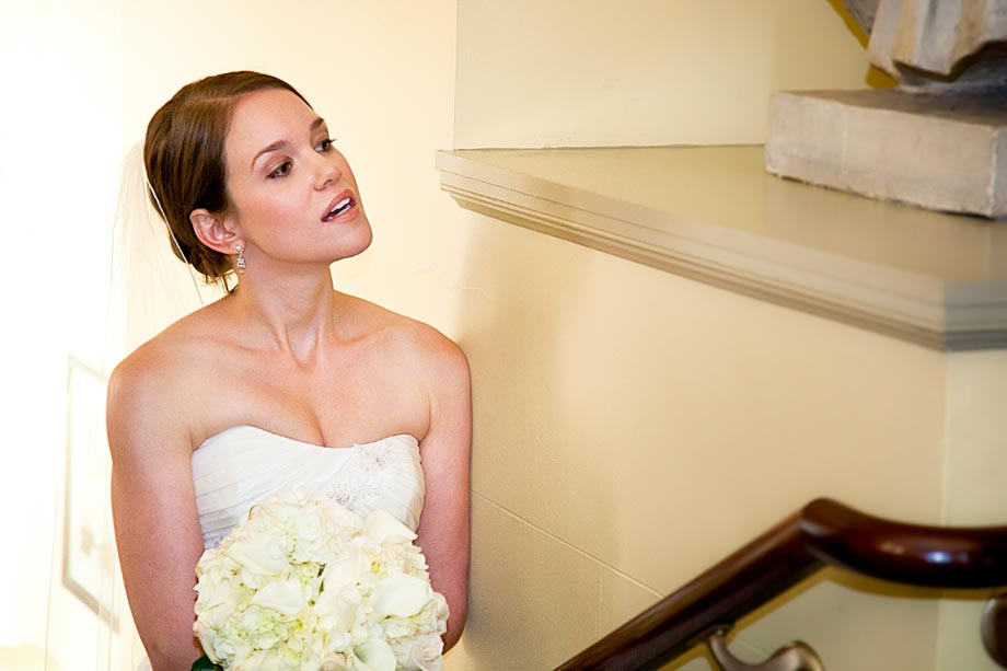 bride waiting to go down aisle