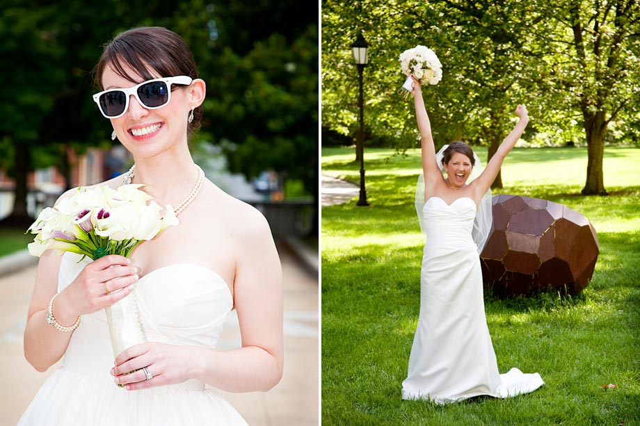 bride wearing sunglasses