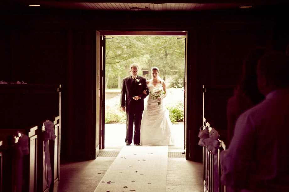 bride and father entering church