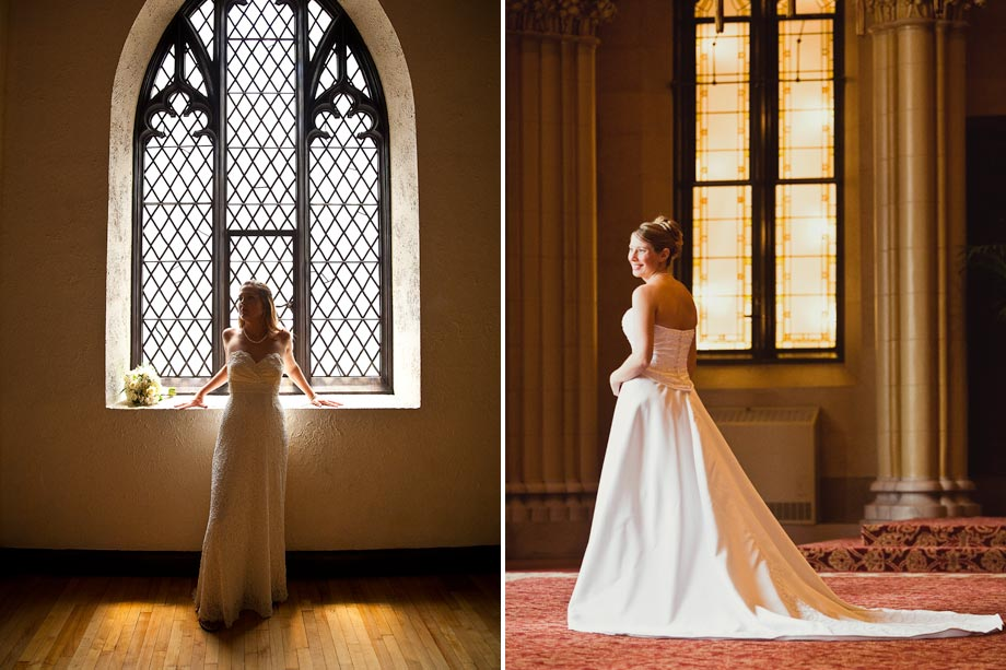 bride by stained glass windows