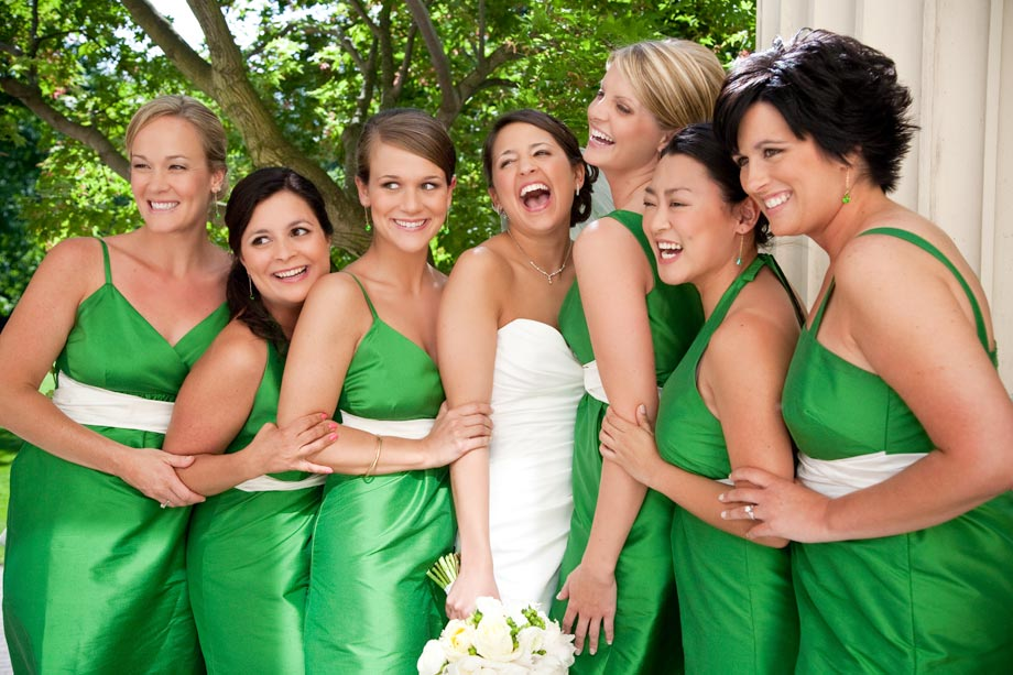 bridesmaids with green dresses