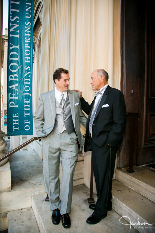 groom and father on steps of peabody