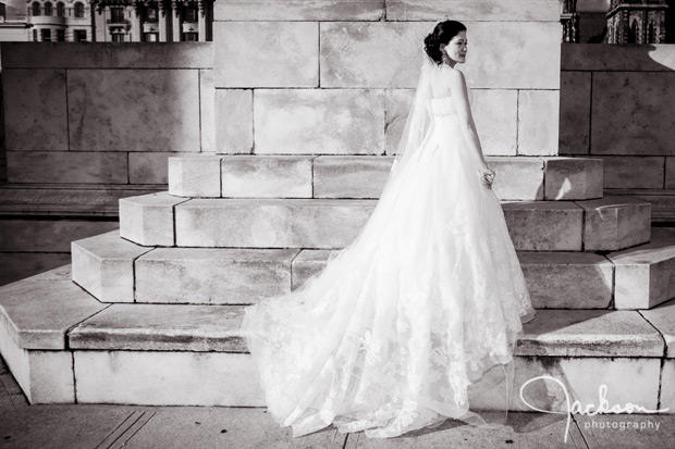 bride on marble steps