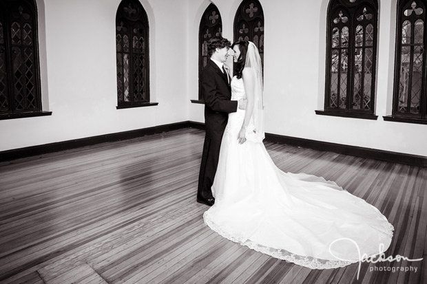 wide angle photograph of bride and groom at chase court