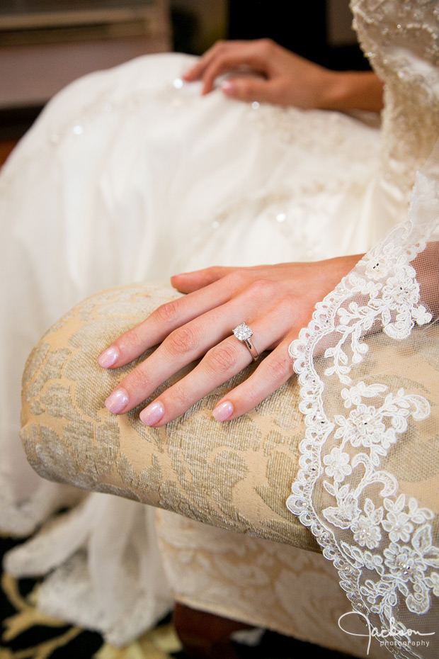 bride's hands with ring and veil