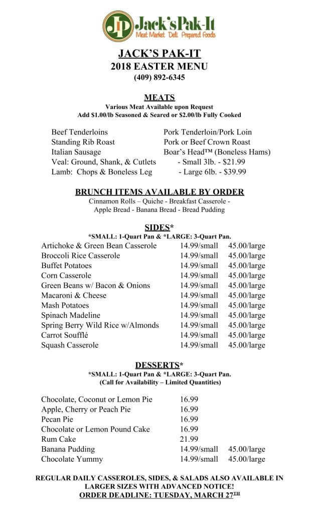 Easter Menu - Place Your Orders Now! - Jacks Pak-It