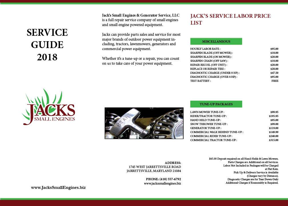 Jacks Small Engines Jarrettsville, MD Lawn Mower Parts  Repair