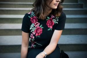 Stickerei Rosen Zara Outfit