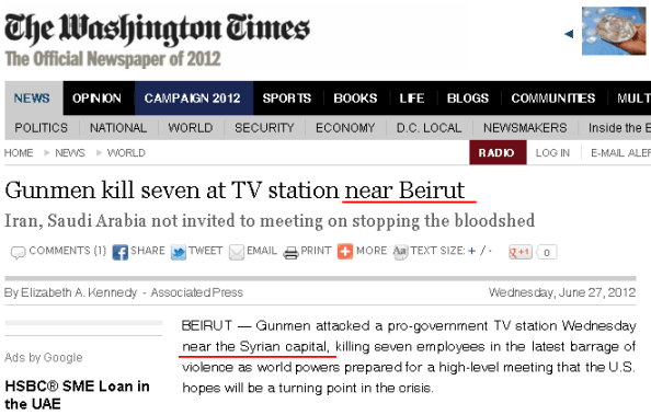 "Screenshot of the Washington Times article ""Gunmen kill seven at TV station near Beirut"""
