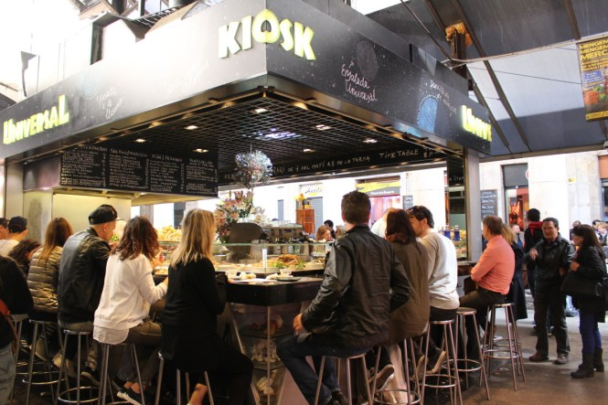 Where should you eat at Barcelona's famous Mercat de la Boquería? Universal Kiosk of course!