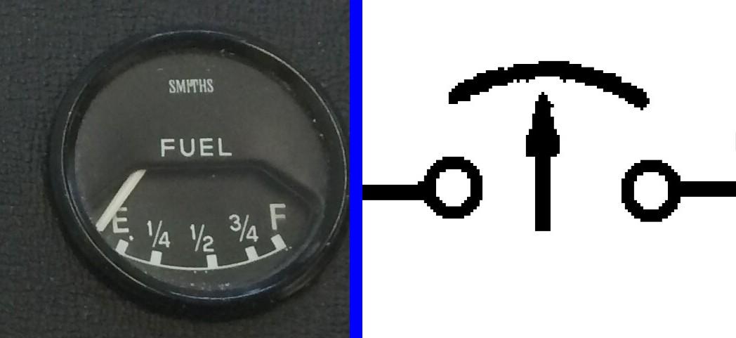 E-Type Fuel, Temp, Oil, Ammeter Gauge Wiring Diagram Symbols