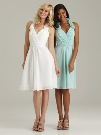 Short halter chiffon bridesmaid dresses.