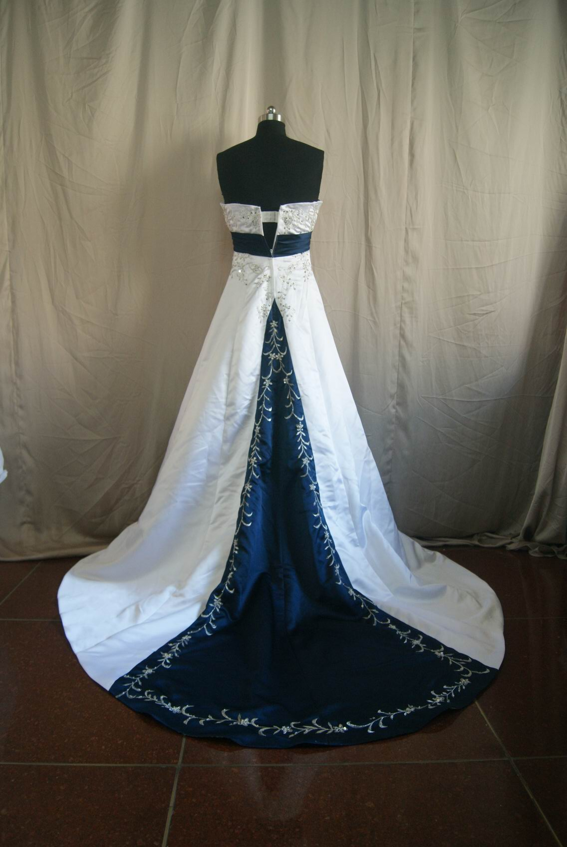 bridal gown navy wedding dress Off White And Navy Wedding Dress