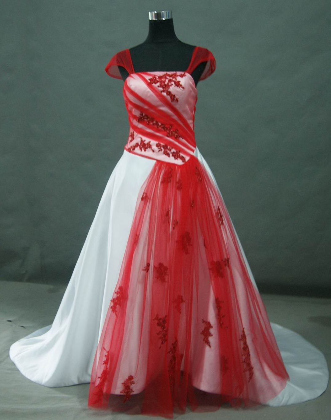 bridal gown red wedding dress Red and White Wedding dress