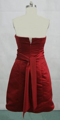 Red strapless dress.