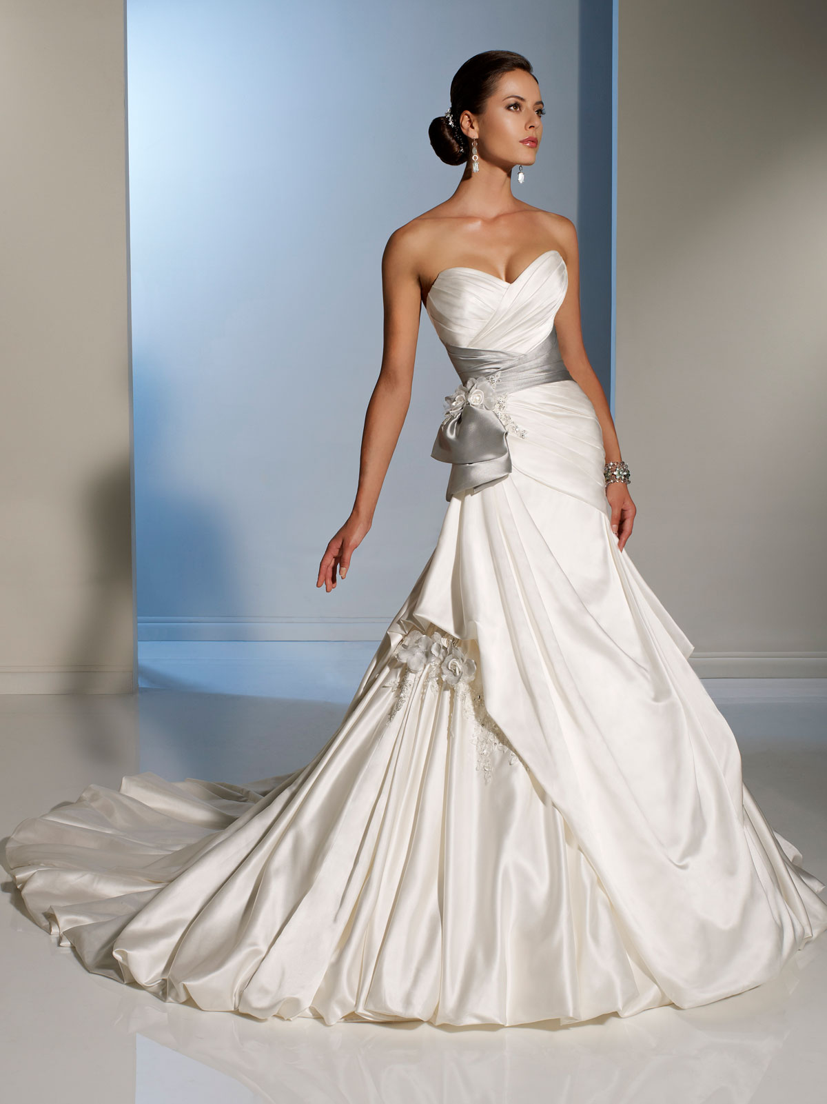 Bridal gowns with color white wedding dress Side Draped Wedding Dress with silver sash