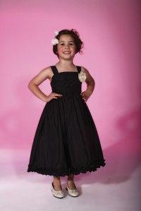 Black Flower Girl Tea Length Dress.