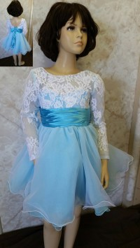 White lace long sleeve flower girl dress.