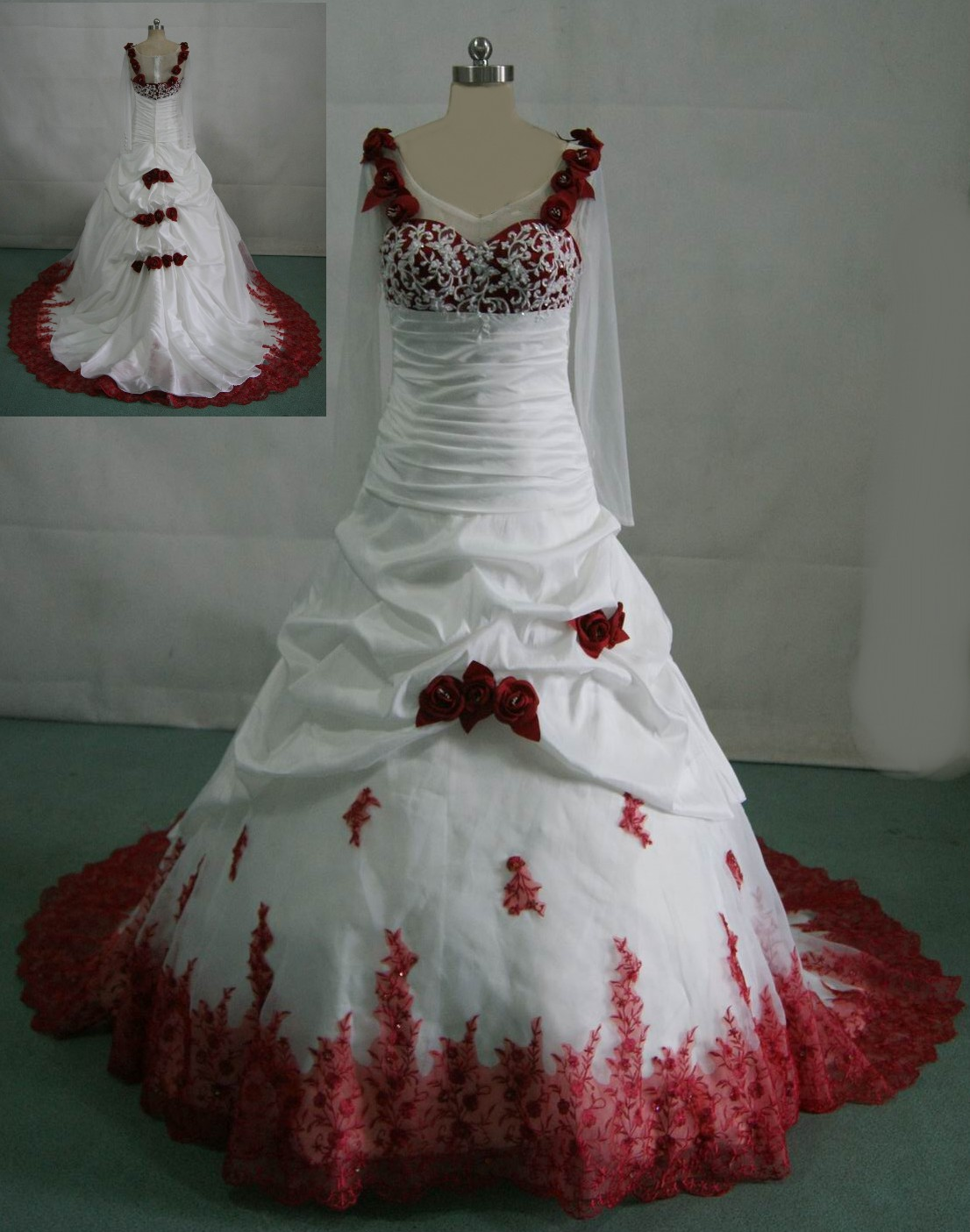 Bridal gowns with color red wedding dresses White wedding gown with red roses on the dress