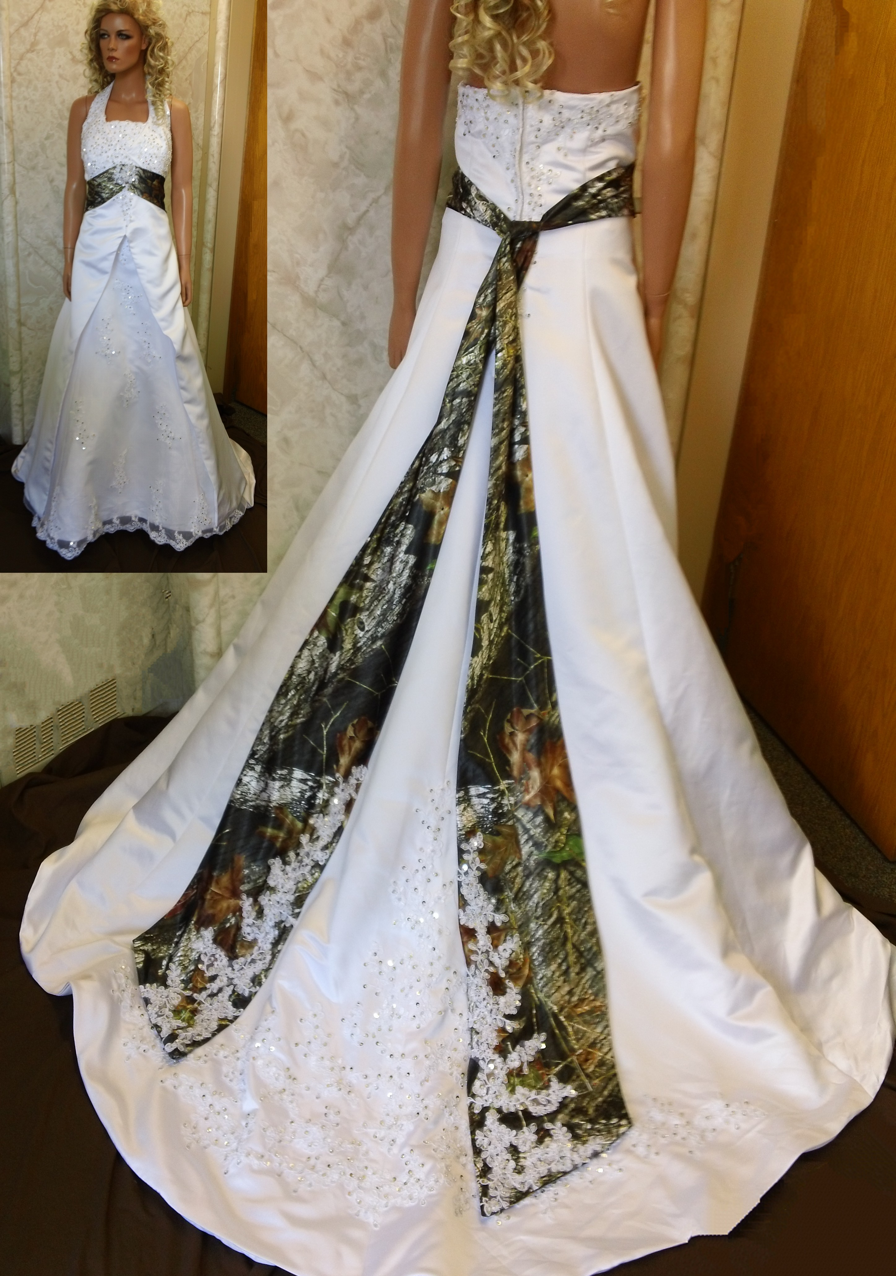 white wedding dresses with camo accents pink camo wedding dresses White Wedding Dresses With Camo Accents 47