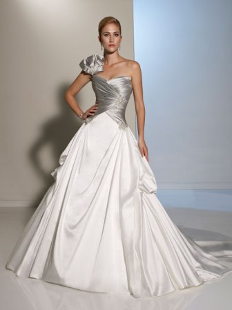 Bridal gowns with color colorful wedding dresses silver and white bow shoulder wedding gown