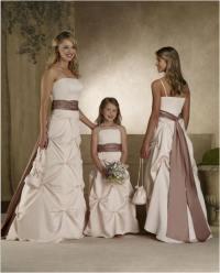 Brown bridesmaid dresses.