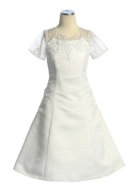 Confirmation Dress with floral applique.