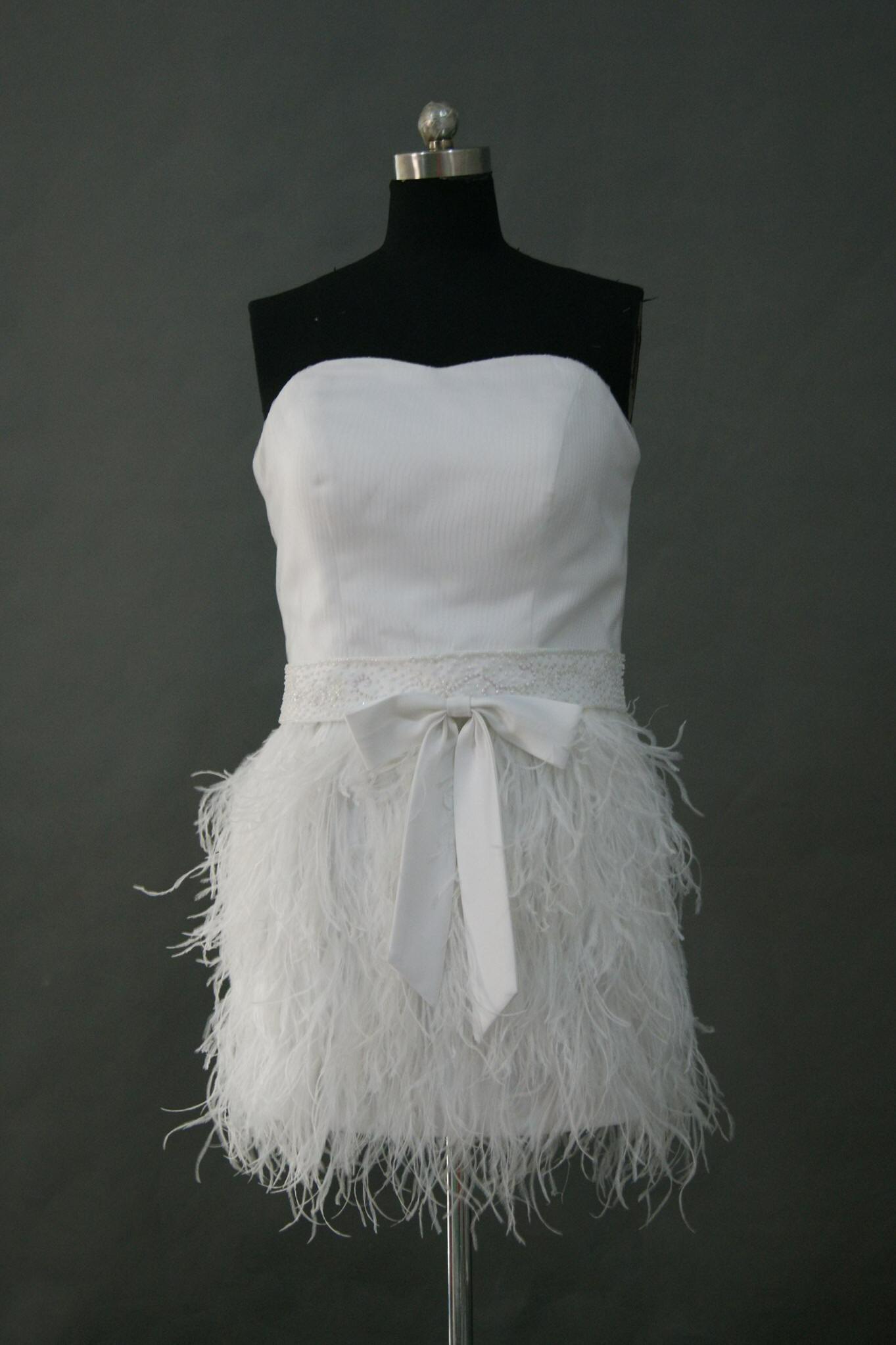 short wedding gowns feathered wedding dress mini feather dress Mini Feather Bridal Dress