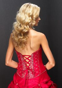 Red corset beaded quinceanera dress.