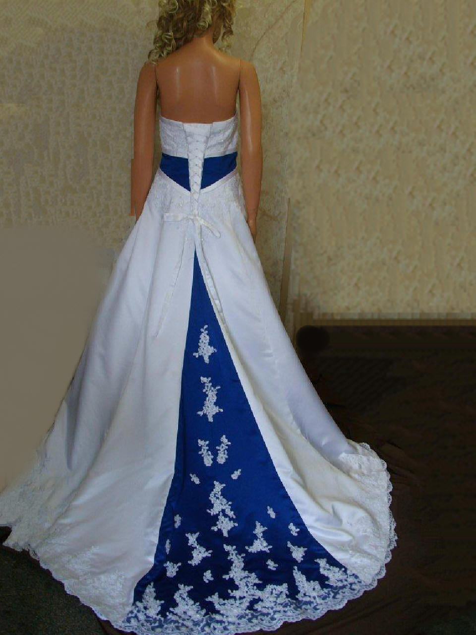 Bridal gowns with color royal blue wedding dresses blue and white strapless wedding gown