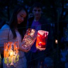 Victoria Wu studies one of many lanterns for sale at the Jamaica Pond Lantern Parade on Oct. 18, 2014.