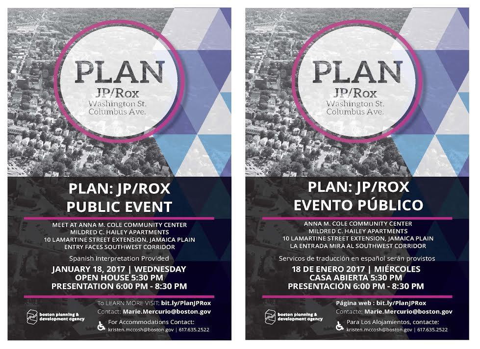 PLAN JP/ROX Public Event on Wednesday Night Jamaica Plain News