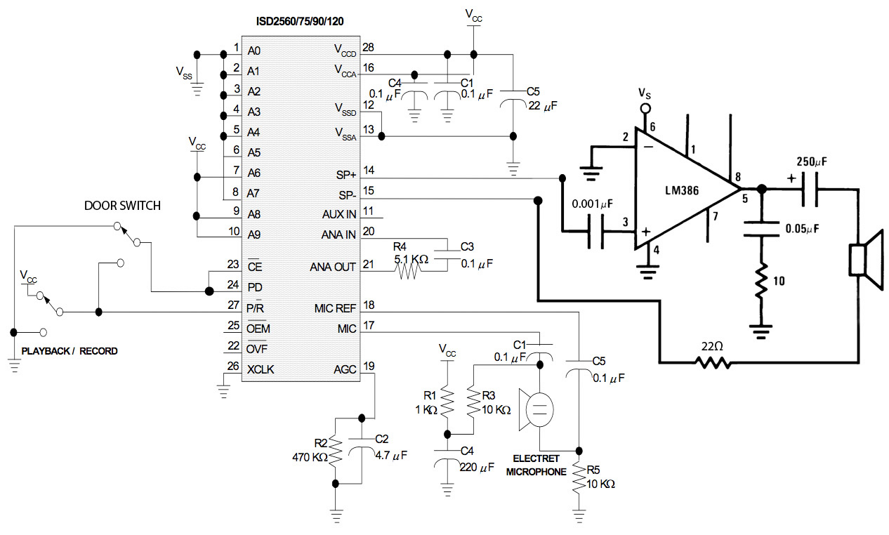Voice Recorder Playback Circuit Auto Electrical Wiring Diagram Isd25120 Recording Diy Door Chime Isd2560 Project Pic16f84